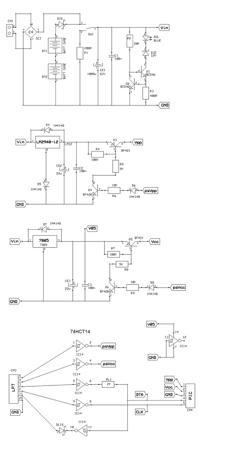 Pic Programmer 7805 Schema The Diode On Output Of Schmitt Trigger Is Necesary Because Lpt Input Expecting Open Collector And Also New Machines Have Operating 33v